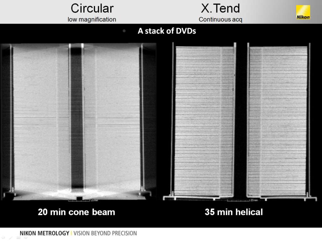 Пример сканирования пачки DVD-дисков обычным методом и с помощью опции XTEND