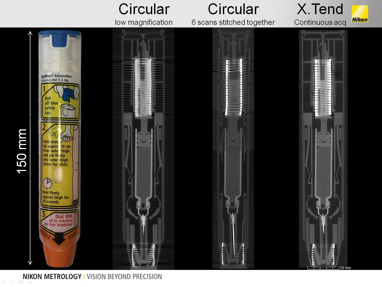 Пример сканирования автоматического шприца EpiPen (epinephrine injection) обычным методом и с помощью опции XTEND