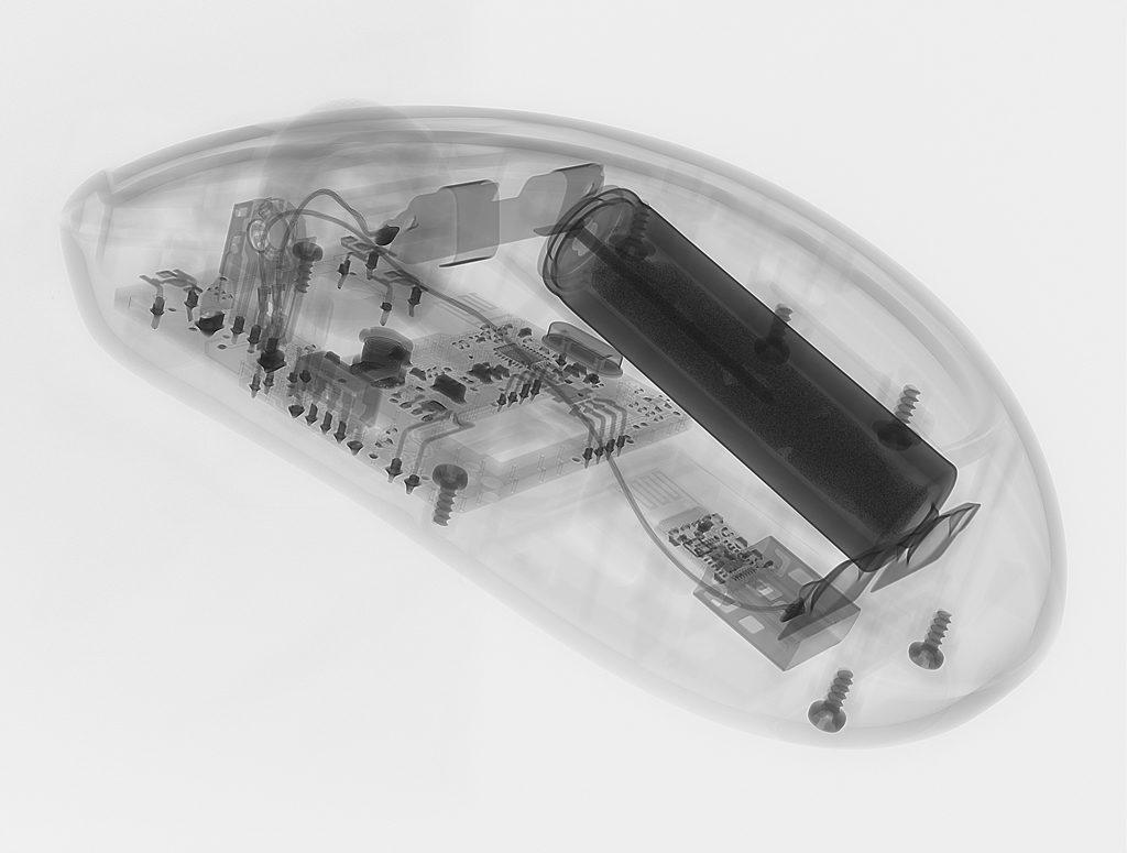 Рисунок 1 – неразрушающий контроль компьютерной мышки методом рентгеноскопии