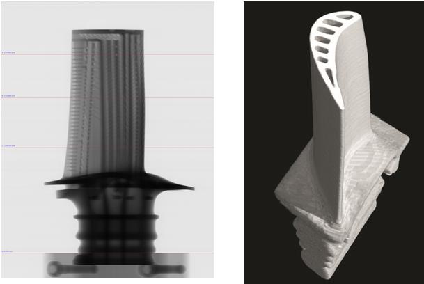 Рисунок 1 – неразрушающий контроль турбинной лопатки (2D вид и трёхмерная модель)