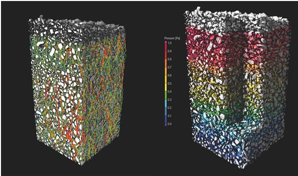 Визуализация явлений переноса в виде цветовой кодировки. Слева: направление потока, справа: виртуальный эксперимент MICP (ртутное капиллярное давление)