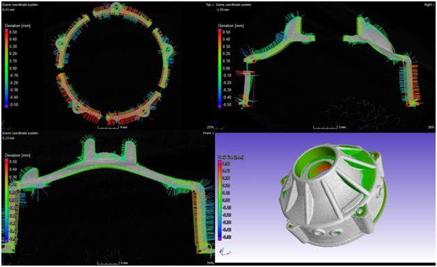 Результат анализа соответствия данным САПР. Вид по осям x,y,z, 3D вид.